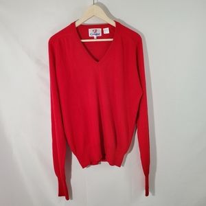 COUGAR Golf Red 100% Acrylic V-Neck Soft Sweater L